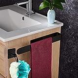 RANJIMA Toallero sin taladrar, acero inoxidable 304, toallero autoadhesivo, toallero para baño y cocina (acero inoxidable negro, sin agujeros)