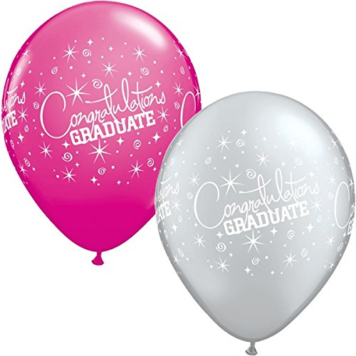 Qualatex Gefeliciteerd Graduate 11 Inch latex ballonnen (Wild Berry & Silver, 5 Pack)