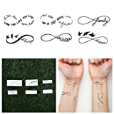 Tattify Infinity Symbol Temporary Tattoos - Sweet Nothings (Complete Set of 12 Tattoos - 2 of each Style) - Individual Styles Available - Fashionable Temporary Tattoos