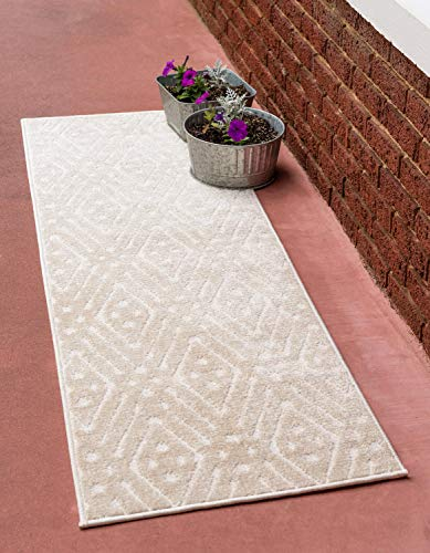 Unique Loom Sabrina Soto Outdoor Collection Geometric Carved Trellis Contemporary Beige Runner Rug (2' 0 x 6' 0)