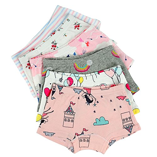 Kidear Kinderserie Baby-Unterwäschen baumwollene Boyshort Höschen für kleine Mädchen, Mehrfarbig (Packung mit 6 Stücken) (Stil2, 9-10 Jahre)