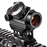 Viiko Red Dot Sight 1x25 2 MOA Compact Micro Reflex Dot Gun Sight 1 Inch Riser Mount Fits Picatinny Weaver Mount
