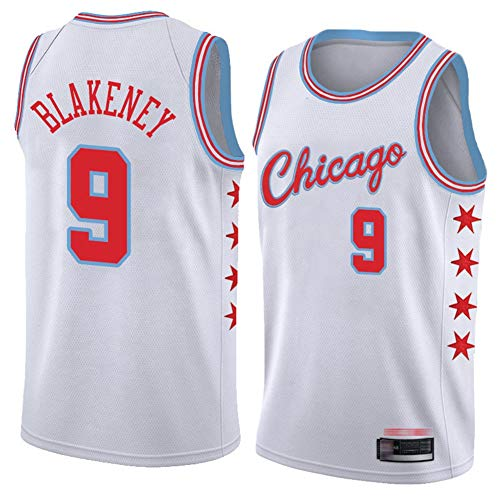 TGSCX Camiseta de Baloncesto para Hombres NBA Chicago Bull 9# Antonio Blakeney Cómodo/Ligero/Transpirable Malla Bordada Swing Swing Sworing Sweatshirt,3,L