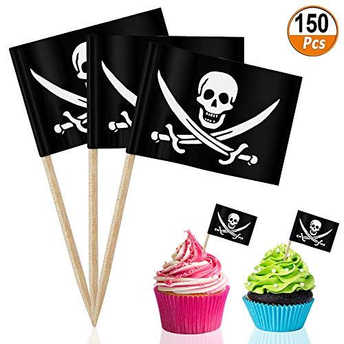 Piraten Cocktail Flaggen 150 Stücke Holz Zahnstocher Flaggen Mini Deko Flagge Flaggenpicker für Kuchen Cupcake Käseplatte Party Lebensmittel Halloween Dekorationen