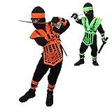 Rubber Johnnies TM Déguisement de ninja pour enfant de 6 à 8 ans, orange fluo
