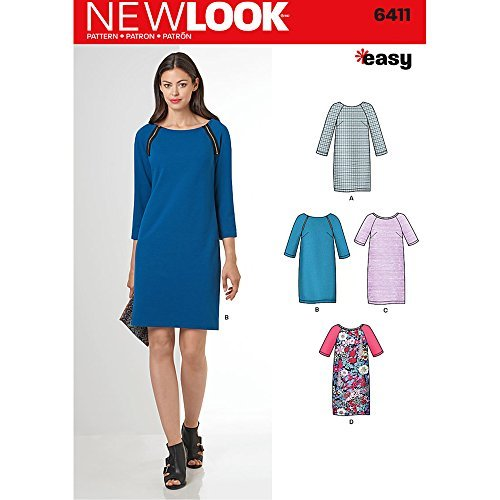NEW LOOK Patterns Misses' Easy to Sew Shift Dress Size: A (10-12-14-16-18-20-22), 6411 by New Look