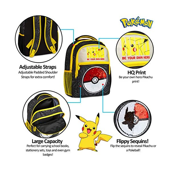 51UoSh9 GWL. SS600  - Pokemon Mochilas Escolares, Mochila Infantil con Diseño Lentejuelas Reversibles, Mochilas Escolares Juveniles con…