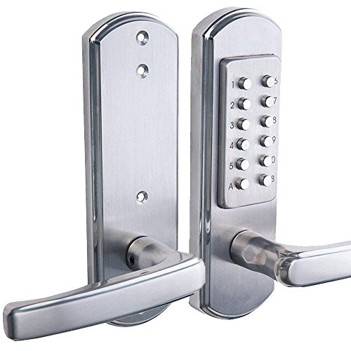 """Elemake Right Handed Keyless Entry Lock Door Keypad Mechanical Security - Upgrade (Not Deadbolt,Only for Single Borehole Door, Borehole Smaller Than Dia. 2-1/8"""",Need Drill Additional 4 Holes)"""