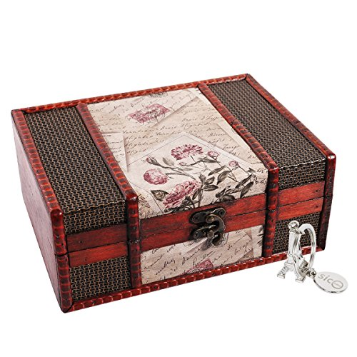 SICOHOME Treasure Box,9.0' Vintage Wooden Box for Jewelry,Tarot Cards,Gift Box,Gifts and Home Decoration