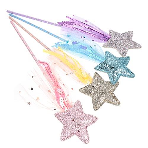 Unomor Bacchetta Principessa Kit Glitter Star Bacchetta Magica Giocattolo Bacchetta per Le Ragazze 4Pc- Principessa Bacchette per Le Ragazze Mostrano Cosplay di Compleanno del Partito del