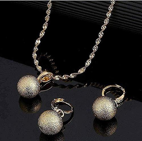 ZGYFJCH Co.,ltd Collar con Colgante de Perlas Redondas de glaseado de Color Dorado, Pendientes de Bola para Mujer, Conjunto de Joyas de África, Regalo