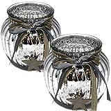 Bada Bing 2er Set Windlicht Silber Aus Glas Holz Stern bauernsilber Bändern Wunderschönes...