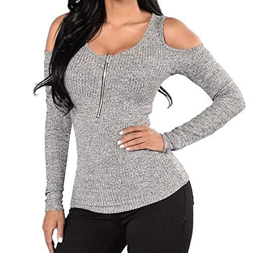 Alikeey Hemd, wit, dames, winter, grote maat, shirt met lange mouwen, ritssluiting, lange mouwen, schoudervrij, voor vrouwen