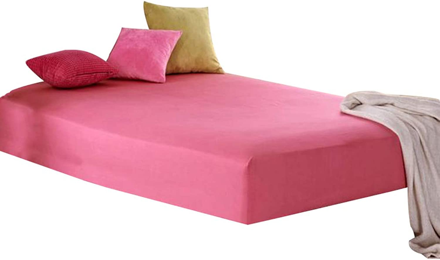 ZHAOHUI Mattress Predector Cotton Breathable Hypoallergenic Comfortable Ultra-Thin Soft Skin-Friendly, 4 Packages, 6 colors, 2 Sizes (color   Pink-A-2pcs, Size   Queen)