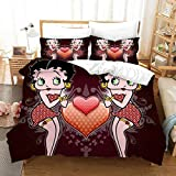 Yumhi Betty Boop Bedding Set for Kids King Size 3 Pieces Duvet Quilt Cover Sets Bed BB3