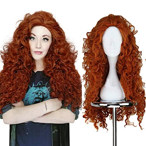 Anogol Hair Cap+Women's Fluffy Wavy Party Costume Cosplay Wig D0048