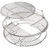 BONPAZ 3 Tier 5 Piece Grill Expander Rack Ultimate Set, Stack Rack - Large Big Green Egg, Kamado Joe Classic Expansion Grilling Rack Kit Replacement Accessories, 100% Heavy-Duty Stainless Eggspander