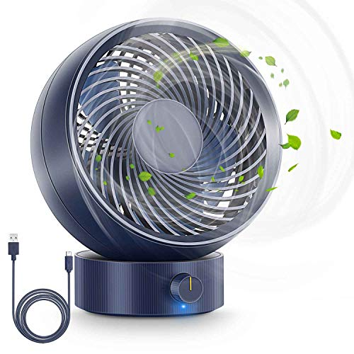 Ventilatore, Ventilatore da Tavolo USB Ventilatore Silenzioso 180 Tipi di velocità del Vento, del può Regolare su e Giù 20°Compatibile con PC/Notebook Fantastica per la Case,Ufficio (Blu)