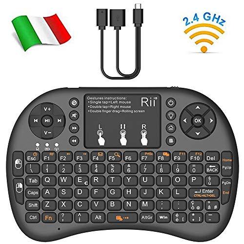 Rii Mini i8+ V2 Wireless + Cavo Rii OTG F1 - Mini Tastiera Retroilluminata con Mouse Touchpad e Tasto ON/OFF per Amazon Fire TV, Smart TV, TV Box, Mini PC, Playstation, Xbox, Computer