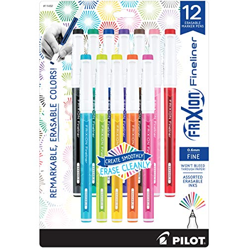 PILOT FriXion Fineliner Erasable Marker Pens, Fine Point, Assorted Color Inks, 12-Pack (11452)