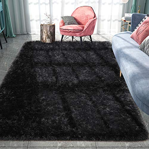 Pacapet Fluffy Area Rugs, Grey Shag Rug for Bedroom, Plush Furry Rugs for Living Room, Fuzzy Carpet for Kid's Room, Nursery, Home Decor, 5 x 8 Feet