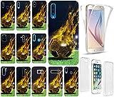 KX-Mobile - Carcasa para teléfono móvil, diseño de fútbol, color negro y amarillo