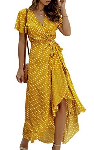 ECOWISH Women's Dresses Bohemian Wrap V Neck Short Sleeve Ethnic Style High Split Beach Maxi Dress 032 Yellow Medium