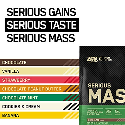 Optimum Nutrition Serious Mass Protein Powder High Calorie Mass Gainer with Vitamins, Creatine and Glutamine, Chocolate, 16 Servings, 5.45 kg