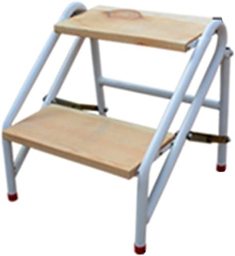 QFFL tideng Schritt-Schemel-Haushalts-faltbarer Schemel-Stahlholz-h erner Innenleiter-Schemel (Größe   45  47CM)