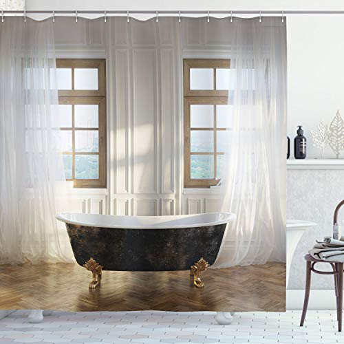 Ambesonne Antique Shower Curtain, Retro Bathtub in...