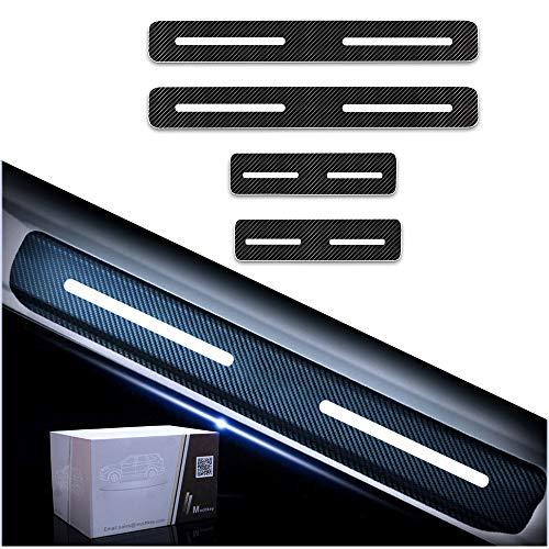 Car Door Sill Protector Film for Honda Carbon Fibre Reflective Sticker Decoration Scuff Plate Sticker Set Scratch Protector White,line e (Honda Accord 2dr Carbon Fiber)