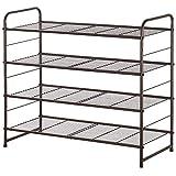 Bextsrack 4-Tier Shoe Rack, Stackable & Adjustable Wire Grid Shoe Shelf Storage...