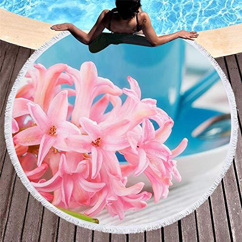 Vanzelu Sanddichtes, Sandfreies Strandtuch, Bedruckte Große Stranddecke Mit Runden Quasten, 150 cm Farbige Macaron-Kekse