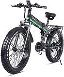 MAMINGBO 1000W Bicicleta eléctrica, Plegable Bicicleta de montaña, Fat Tire E-Bici, 48V 12.8AH, Nombre de Color: Rojo (Color : Green)