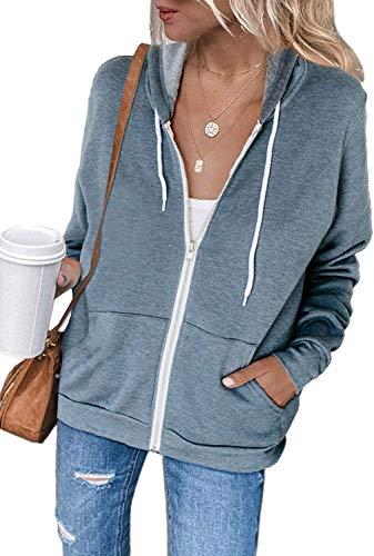 Uusollecy Damen Sweatjacke Hoodie Sweatshirtjacke Pullover Oberteile Kapuzenpullover Einfarbig Full Zip Casual Hoodie Sweatshirt A-hellblau S