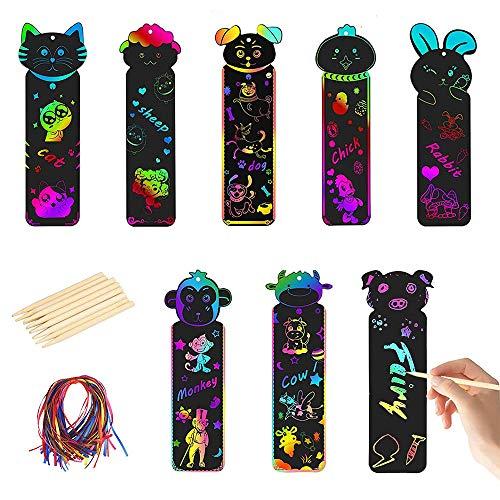 Gobesty Segnalibro per bambini, 48 pezzi, carta da graffi arcobaleno, carta magica arcobaleno con matite in legno e nastri, per bambini, studenti, bricolage