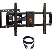 ECHOGEAR Full Motion Articulating TV Wall Mount Bracket for most 37-70 inch LED, LCD, OLED and Plasma Flat Screen TVs w/ VESA patterns up to 600 x 400 - 16'' Extension - Includes 6' HDMI Cable - EGLF1-BK