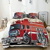 Juego de funda nórdica beige, Cars Big Fire Truck con equipos de emergencia de Universal Safety Rescue Team Engine Red Silver, Juego de cama decorativo de 3 piezas con 2 fundas de almohada Easy Care A