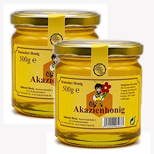 Imkerei Beck® - Echter Deutscher Imkerhonig im 2er Pack / 2 x 500g Honig in kunststofffreier Verpackung direkt vom Imker aus Bayern (Akazienhonig)