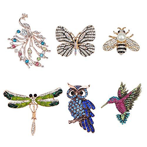 TsunNee Animal Shape Crystal Brooches, Costume Badge, Dragonfly Butterfly Hummingbird Owl Peacock Bee Brooch, Clothing Brooch for Women Girls Party Favors, 6 Pieces