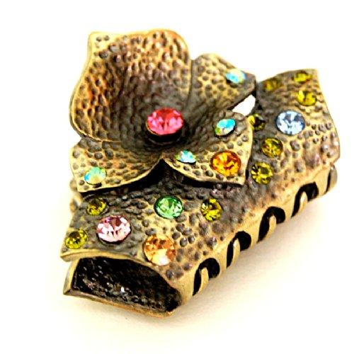 rougecaramel - Accessoires cheveux - Pince cheveux doré vieilli fleur