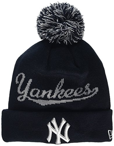 New Era NY Yankees Script Bobble Knit - Bonnet - Homme - Bleu (Navy) - Taille Unique (Taille Fabricant: One Size)