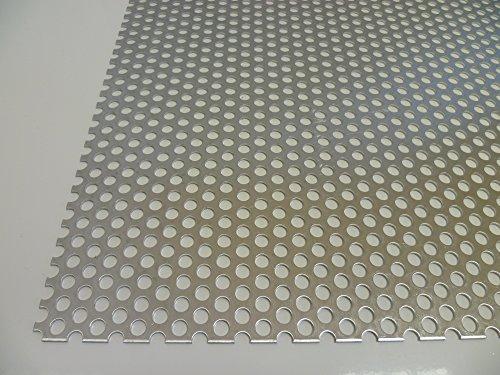B&T Metall Aluminium Lochblech 1,5 mm stark Rundlochung Ø 6 mm versetzt RV 6-9 Größe 200 x 1000 mm (20 x 100 cm)