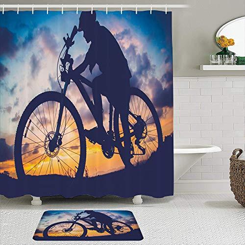 SUDISSKM Duschvorhang Set Badezimmer Matte rutschfeste,Aktivität Fahrrad Sonnenuntergang Schöner Himmel Vintage Sport Erholung Active Adventure Bicycler,Wasserdicht Duschvorhang mit 12 Haken