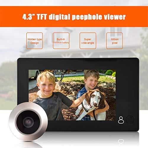 ASHATA Mirilla Digital Visor, Cámara con 4.3 Pulgadas HD TFT LCD Pantalla Coloreada, Cámara de Seguridad para el Hogar con Timbre Gran Angular de 145 Grados, Simple y Fácil de Usar