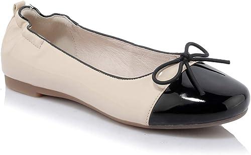Zapatos planos a juego de Color de las mujeres Cabeza rojoonda Fondo inferior suave zapatos de ballet Moda salvaje Boca baja Rollo de huevo zapatos Fuera de Gas Guisantes Zapato