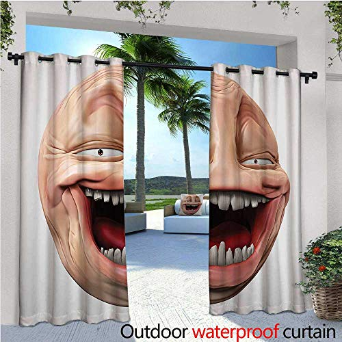 cobeDecor Humor Indoor/Outdoor Single Panel Print Window Curtain Poker Face Guy Meme Laughing Mock Person Smug Stupid Odd Post Forum Graphic Silver Grommet Top Drape W108 x L96 Peach and Pearl
