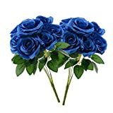 Aviviho Artificial Rose Flowers Royal Blue Fake Roses with Stems Pack of 2 Silk Roses Bouquets for Wedding Party Centerpieces Arrangements Home Table Decoration