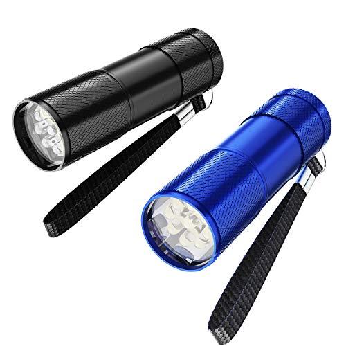 YoungRich 2 pezzi Torce a LED Portachiavi Torcia tascabile portatile con lega di alluminio e portachiavi per bambini Adulti Festa Divertimento Campeggio Escursionismo All'aperto, Blu Nero