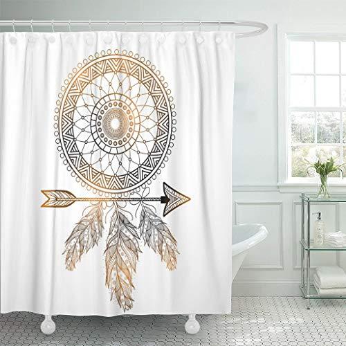 JOOCAR Design Duschvorhang, indischer Boho Traumfänger, ethnisches Blumenmuster Pfeil, wasserdichter Stoff Stoff Badezimmer Dekor Set mit Haken
